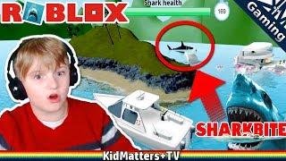 ROBLOX Shark Bite! Let's Play. EATEN BY & I'M A SHARK!! | Roblox SharkBite (Beta) [KM+Gaming S02E12]