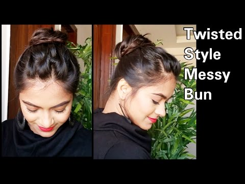 Xxx Mp4 5 Min Twisted Style Messy Bun Hairstyle For Medium Long Hair Easy Indian Party Wedding Hairstyles 3gp Sex