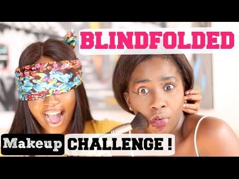 BLINDFOLDED MAKEUP CHALLENGE Feat. LIZLIZLIVE | AdannaDavid
