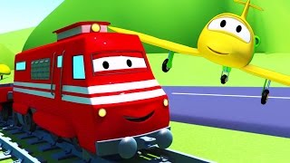 Troy The Train and the Plane in Car City| Cars & Trucks cartoon for children