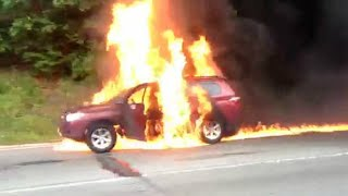 Cars on fire: Man lost his life in car fire; Tesla model S caught on fire - Compilation