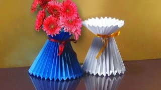 How To Make A Paper Flower Vase   Very Easy And Simple Way  
