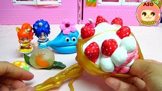 プリキュアアラモード❤️スクイーズちゃんのおともだちにスクイーズのたべものをたべさせよう!アニメ おもちゃ Kids Anime Toy Squishy
