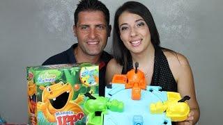 Mangia Hippo apertura gioco in scatola e prova, unboxing video per bambini barns video leker