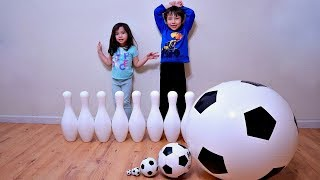 Learn Sizes with Soccer Ball and Bowling Pins for Toddlers and Children