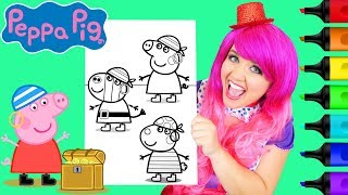 Coloring Peppa Pig & Friends Pirates Coloring Page Prismacolor Markers | KiMMi THE CLOWN