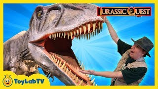 JURASSIC QUEST FOR DINOSAURS! Giant T-Rex Family Fun Theme Park w/ Children's Activities & Kids Toys