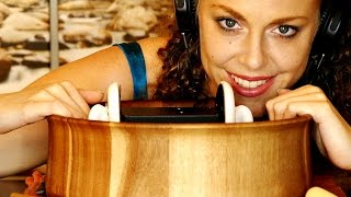 ASMR Tapping, Scratching, Brushing on 3Dio Inside A Wooden Bowl, Binaural Whisper
