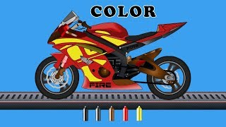 Kids TV Channel  Bike  Learn Colors with Vehicles Coloring Videos For Children