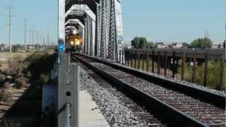 Freight train crossing bridge in Arizona