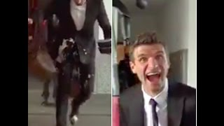 mats Hummels drops his coffee, hilarious reaction by muller- Hummels coffee fail