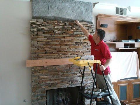 Thin Natural Stone Veneer Installation Fireplace