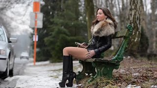 Sexy Julie Skyhigh in leather jacket and high heel knee high boots