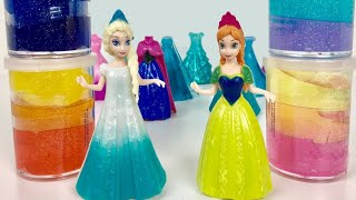 Glitter Putty ! Elsa & Anna toddlers Videos Frozen Parody with Magiclips dolls Slime