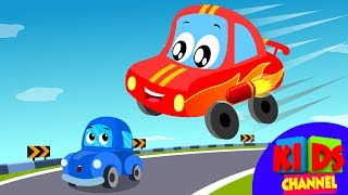 Little Red Car Rhymes - Car Race Song | Car Cartoons | Rhymes for Kids