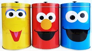 Sesame Street Tin Surprise Toys With Big Bird Elmo and Cookie Monster