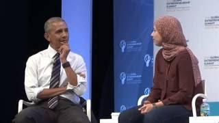 Mai Medhat with President Barack Obama and Mark Zuckerberg
