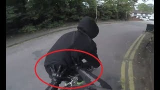 Biker chases down hooded phone thief