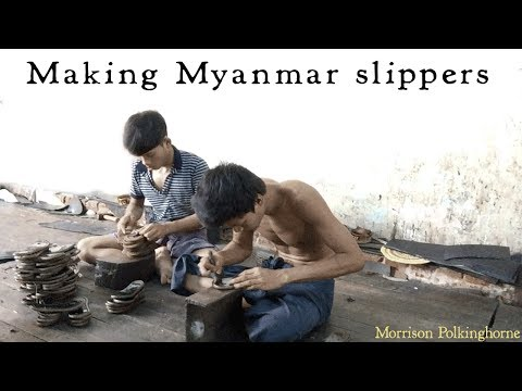 Xxx Mp4 Making Myanmar Velvet Slippers About 500 Handmade Flip Flops Are Made A Day 3gp Sex