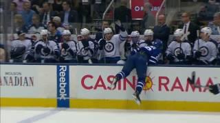 Soshnikov gets dumped into Jets bench by Thorburn