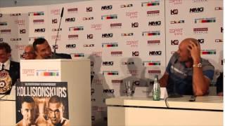 WLADIMIR KLITSCHKO & TYSON FURY HEATED EXCHANGE AT FIRST PRESS CONFERENCE IN DUSSELDORF (GERMANY)