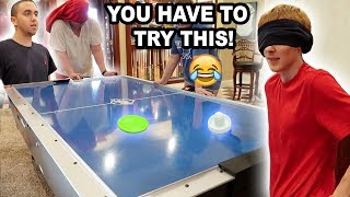 BLINDFOLD AIR HOCKEY CHALLENGE!!