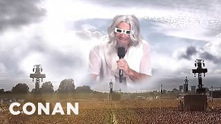 God Warms Up The Crowd For The Eclipse  - CONAN on TBS