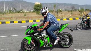 Riding The Kawasaki Ninja ZX10R For The First Time - Loud FlyBys - INDIA
