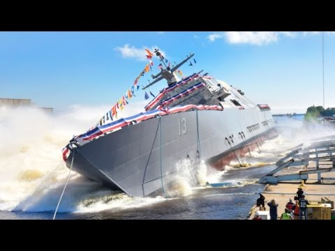 watch US Navy launches new warship