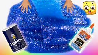 How To Make Slime with Glue, Water and Salt only! GIANT slime without borax or liquid starch! Easy!