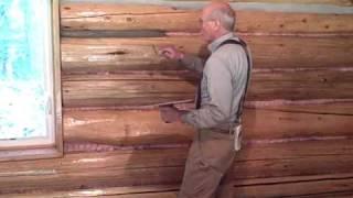 Martin cabin 6-3-09 chinking log walls