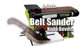 DIY easy 4 inch Belt Sander Knife Bevel and plunge cuts