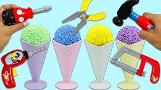 Play Foam Surprise Cones Opening with Disney Mickey Mouse Pretend Tools!