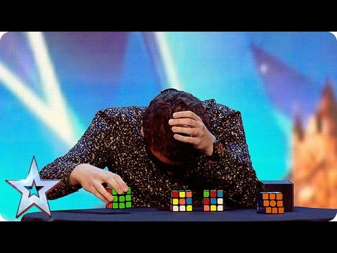 Watch Flavian solve three Rubik's Cubes…BLINDFOLDED Britain's Got More Talent 2016