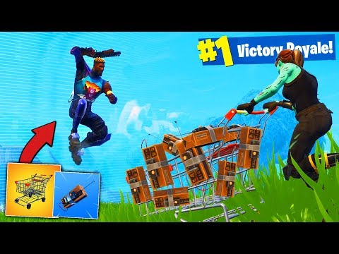 Using ONLY SHOPPING CART TO WIN Fortnite Battle Royale