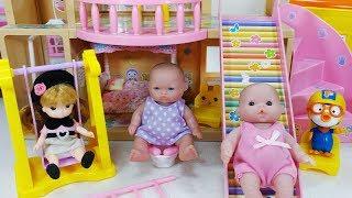 리카짱 엘리베이터 와 미끄럼틀 하우스 아기인형 뽀로로 장난감놀이 - 토이몽