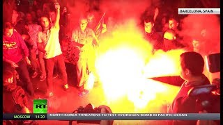 Flags & Flares: Separatist and Unionist protesters face off in Catalonia