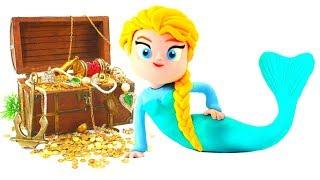 Frozen Elsa Mermaid Princess Ariel Little Mermaid Play Doh Cartoons Stop Motion Disney Fairies Toys