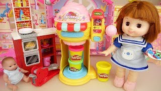 Baby doll and play doh spaghetti cooking and ice cream shop play