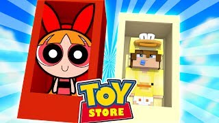 Minecraft TOYSTORE: BABY DUCK SAVES THE POWERPUFF GIRLS!! w/Little Carly and Little Kelly .