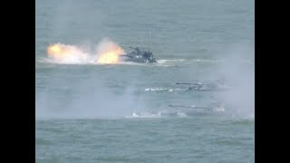 Chinese Marines Conduct Float crossing Firing Practice off Coast in South China