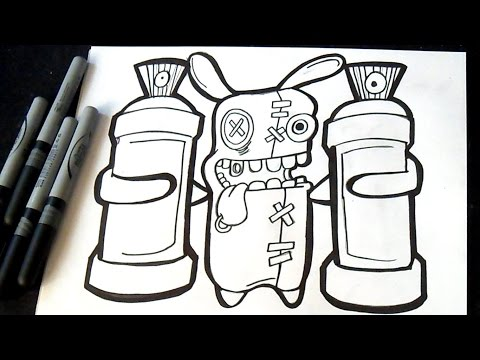 Cmo dibujar un Conejo Loco con dos latas de Spray  Graffiti