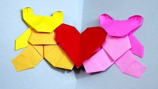 Origami Love Bears Valentine's Day Heart Card [Teddy Bear Paper Craft Tutorial]!