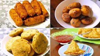 4 IFTHAR Snacks | Potato Cheese fingers | Prawns stuffed Roti | Aloo Samosa | Malabar stuffed Eggs