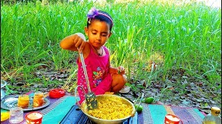 Big Carp Fish Eggs Cooking By 4 Years Old Cute Baby Girl Sneyha - Village Picnic Food