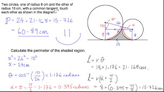 Circle Geometry - Perimeter of shape inclosed by two circles