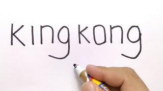 VERY EASY ! How to turn words KINGKONG into CARTOON for kids / learn how to draw
