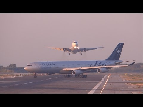 [FULL HD] UTair Aviation 767-300 NEAR MISS? GO AROUND at Barcelona-El Prat