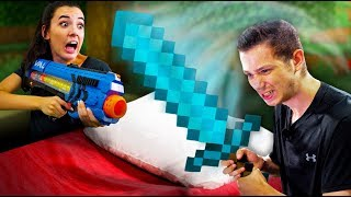 NERF Minecraft Bed Wars Challenge!