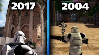 Star Wars Battlefront 2 - New Theed (2017) vs Old Theed (2004) Gameplay!